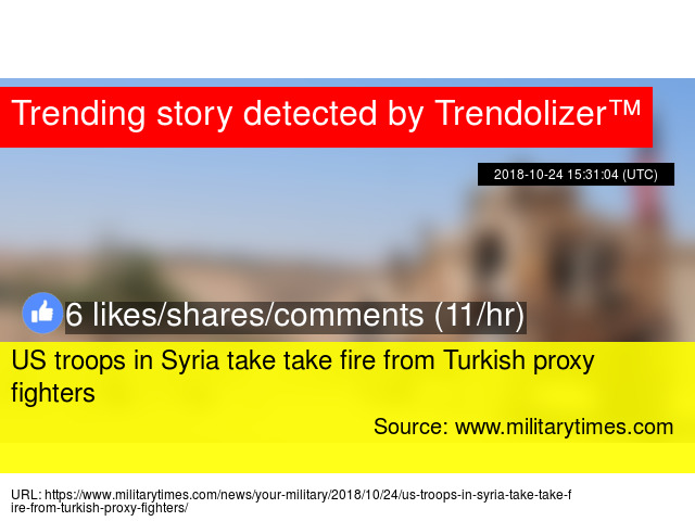 US troops in Syria take take fire from Turkish proxy fighters